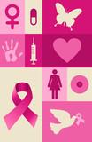 Breast cancer awareness elements set