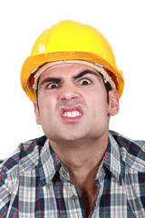 Scary construction worker