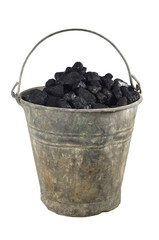 old bucket with carbon