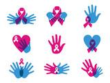 Breast cancer awareness ribbon set