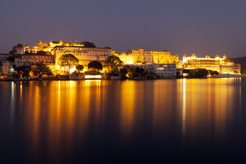 City  Palace at night, Udaipur, Rajasthan.
