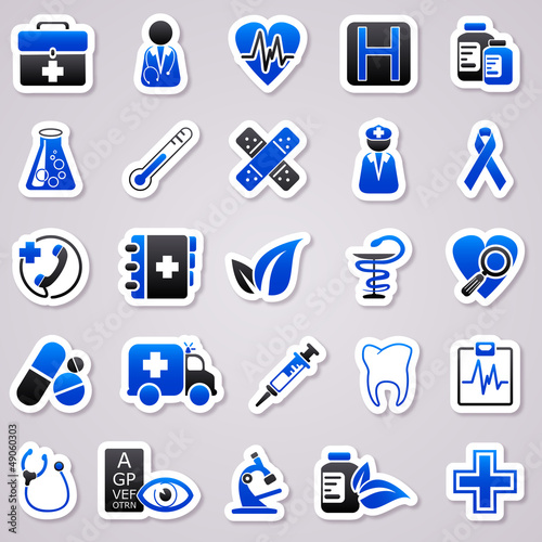 medicine navy blue stickers