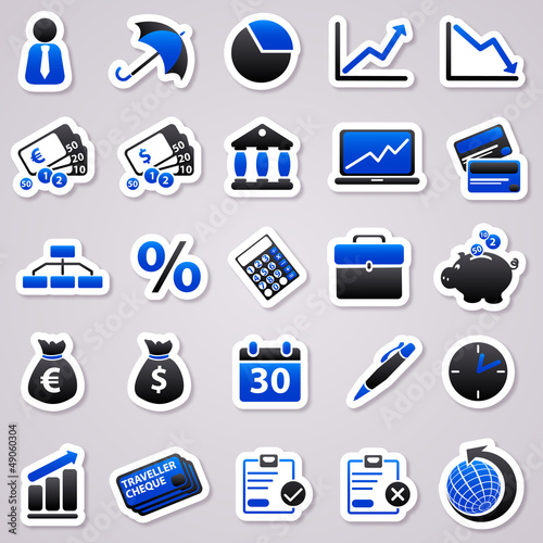economic navy blue stickers