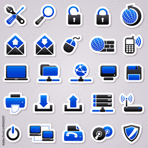 computer navy blue stickers