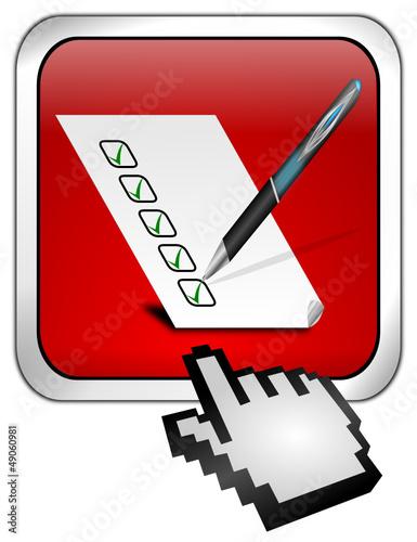 Button mit Checkliste mit Cursor