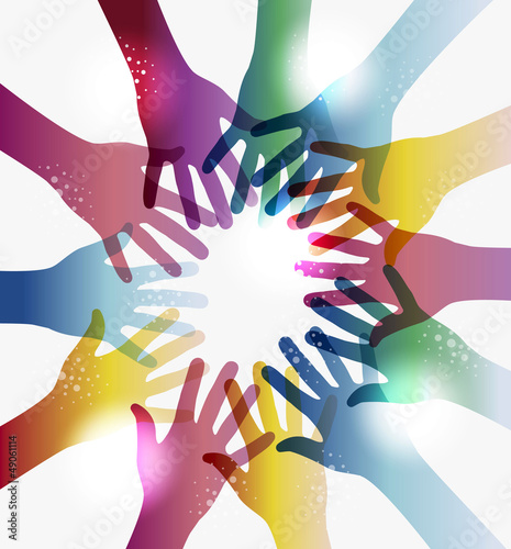 Rainbow transparency hands circle