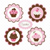 Set of cupcakes labels