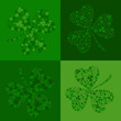 vector green seamless background with clover shamrock