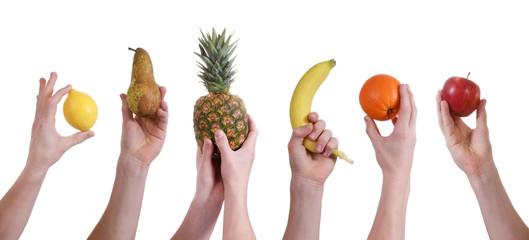 Hände halten Obst