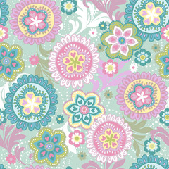 Pastel ethnic floral seamless background