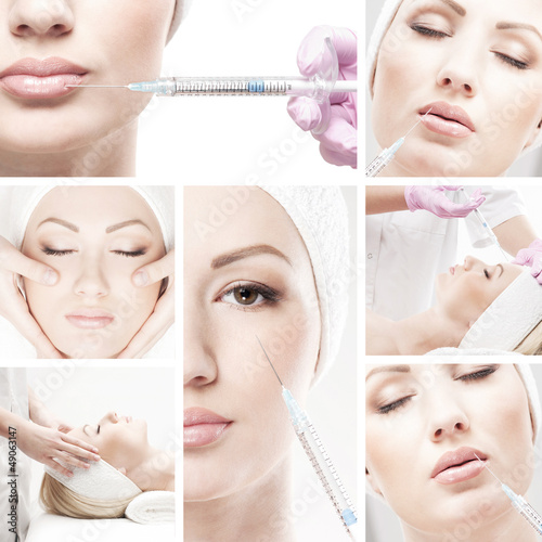 A collage of female portraits on a botox injection procedure