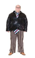 Obese man with an outrageous fashion sense