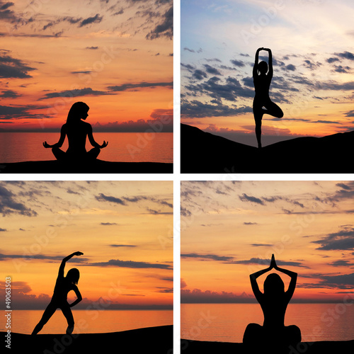 Silhouette of young woman doing yoga exercise over the sunset