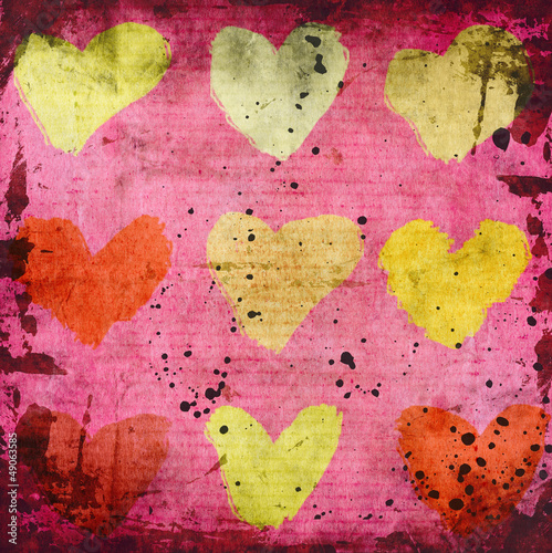 abstract grunge background with hearts - 49063585