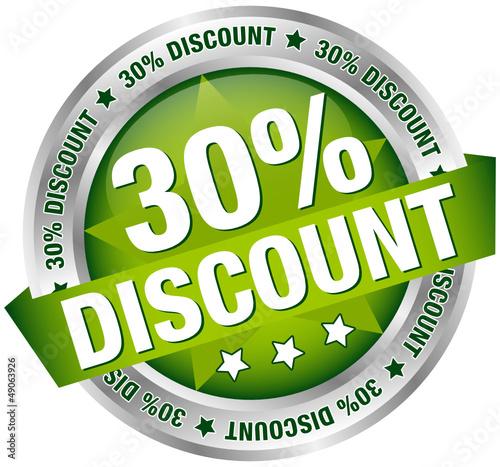 "Button Banner ""30% Discount"" grün/silber"