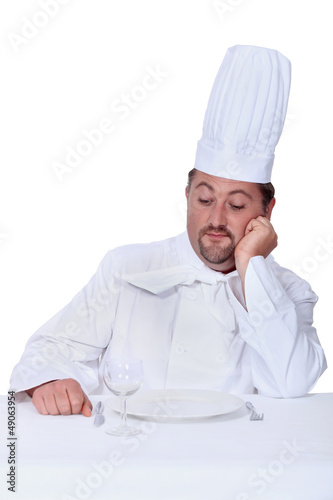 Chef looking disdainfully at an empty plate