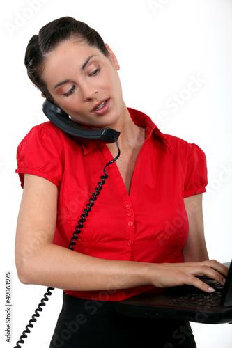 A busy female executive.
