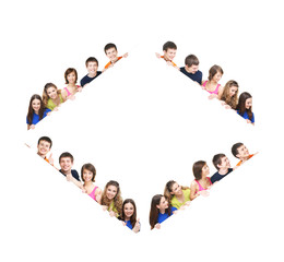 A group of young teenages in a a form of a rhombus
