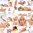 A collage of images with young women on spa procedures