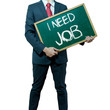 Business man holding board on the background, JOB Search