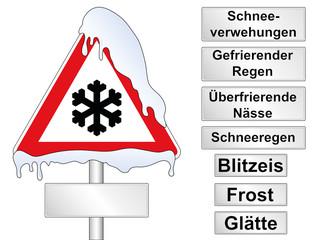 """Schild """"Eisglätte"""" mit Zusatzschilder"""