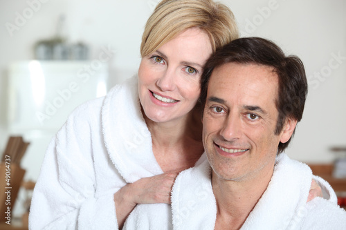 Couple in bath robes