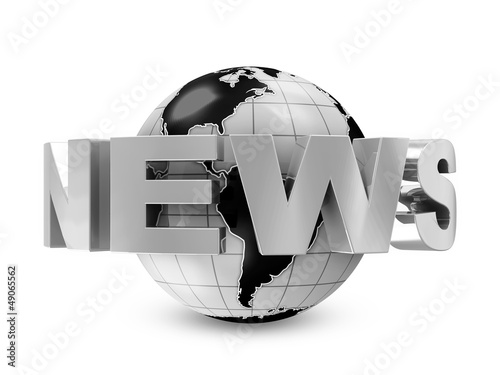 Earth Globe with word News isolated on white background