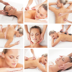 A collage of spa images with women laying on massage