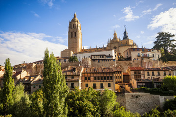 Segovia cathedral and wall, Castilla y Leon, Spain