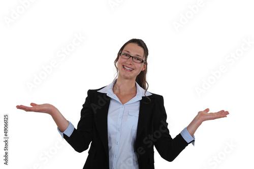 Woman extending her hands