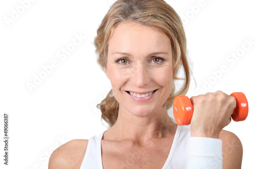 woman with dumbbell