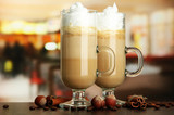 Fotoroleta Fragrant coffee latte in glasses cups with spices,