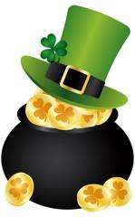 St Patricks Day Leprechaun Hat on Pot of Gold