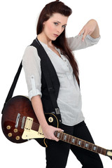 Portrait of a female guitarist