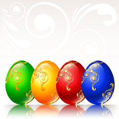 Coloured easter Eggs on pale background with ornaments