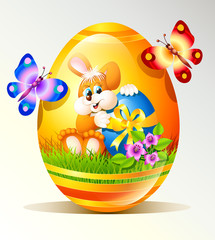 Easter egg with bunny and butterflies