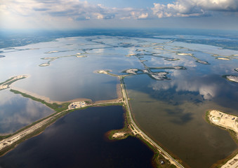oilfield on lake