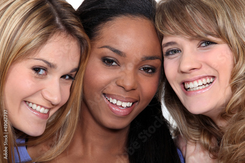 Closeup of three cheerful women