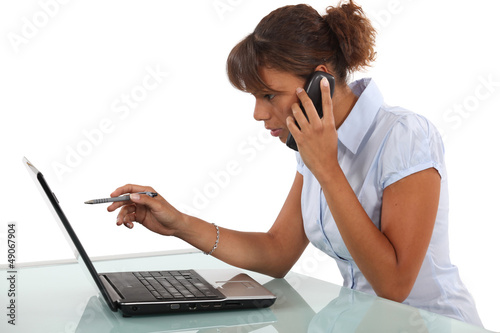 Woman calling technical help-desk