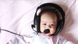 Baby enjoying to listen song