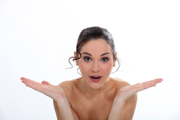 Surprised naked woman