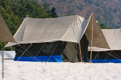 Camp at Ganges river . Uttarakhand, India.