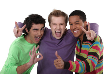 trio of cheerful buddies