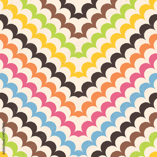 Chevron scales pattern, seamless scallop background