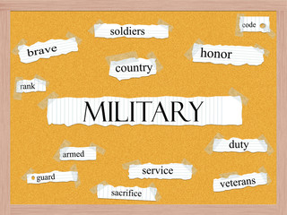 Military Corkboard Word Concept