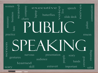 Public Speaking Word Cloud Concept on a Blackboard