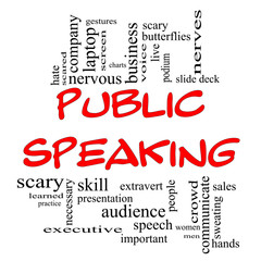 Public Speaking Word Cloud Concept in Red Caps