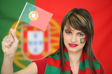 Patriotic Portuguese woman