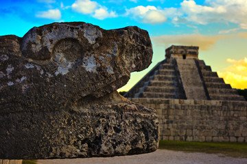 Snake Head and Pyramid of Chichen Itza