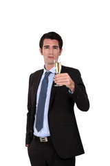 Business toasting his success
